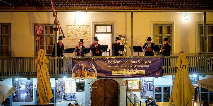 Zagrebu s božićnih balkona (koncerti Ad gloriam brassa); © TZ Zagreb